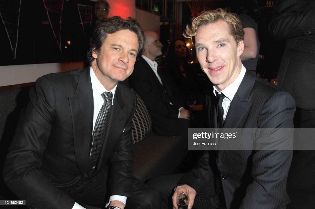 Colin Firth and <a gi-track='captionPersonalityLinkClicked' href=/galleries/search?phrase=Benedict+Cumberbatch&family=editorial&specificpeople=2487879 ng-click='$event.stopPropagation()'>Benedict Cumberbatch</a> attend the ' Tinker, Tailor, Soldier, Spy' UK premiere after party on September 13, 2011 in London, England.