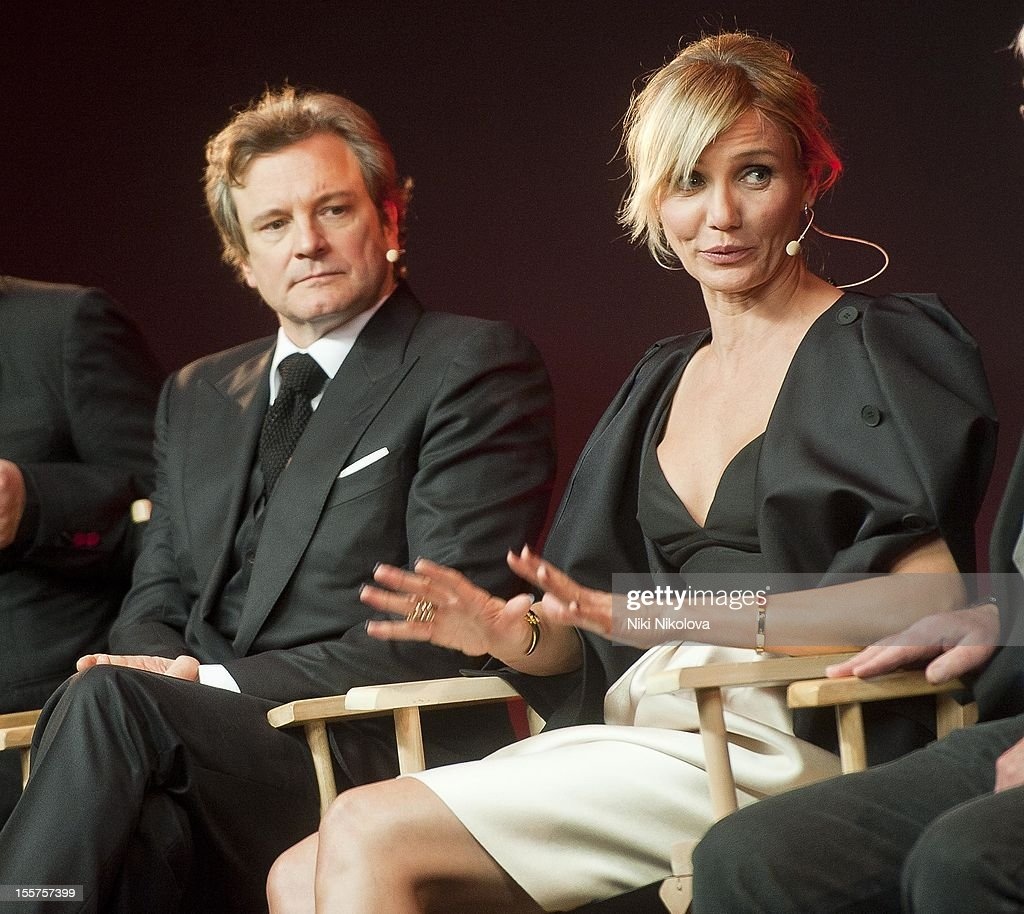 Colin Firth and Cameron Diaz attend Meet The Film Makers: Gambit at the Apple Store, Regent Street on November 7, 2012 in London, England.