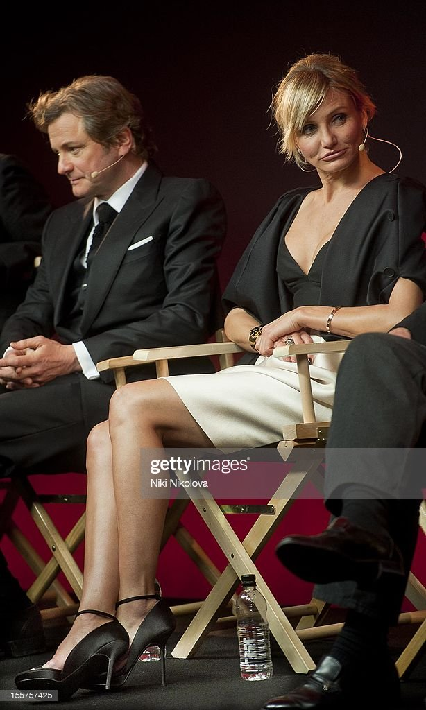 <a gi-track='captionPersonalityLinkClicked' href=/galleries/search?phrase=Colin+Firth&family=editorial&specificpeople=201620 ng-click='$event.stopPropagation()'>Colin Firth</a> and Cameron Diaz attend Meet The Film Makers: Gambit at the Apple Store, Regent Street on November 7, 2012 in London, England.