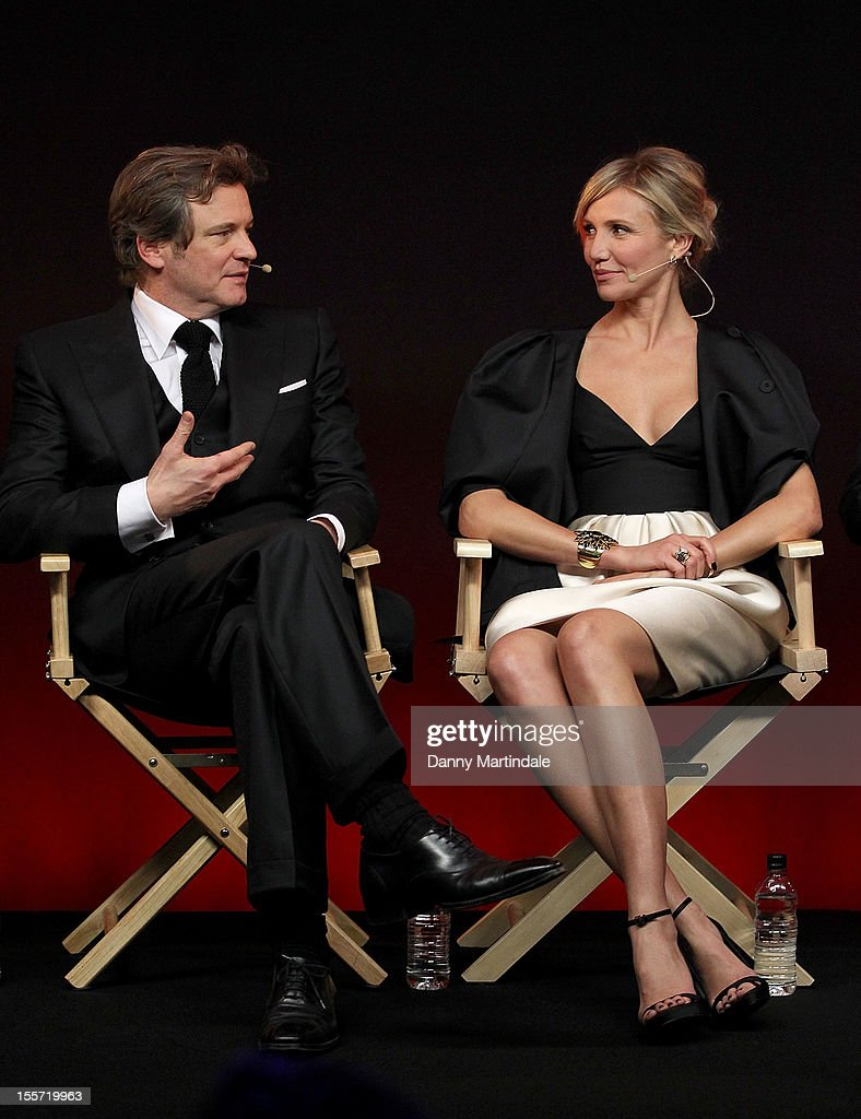 Colin Firth and Cameron Diaz attend the Meet The Filmmakers event for Gambit at Apple Store, Regent Street on November 7, 2012 in London, England.