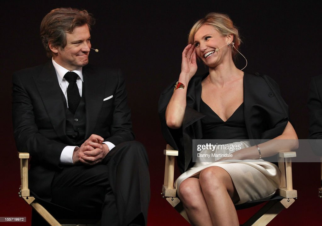 <a gi-track='captionPersonalityLinkClicked' href=/galleries/search?phrase=Colin+Firth&family=editorial&specificpeople=201620 ng-click='$event.stopPropagation()'>Colin Firth</a> and Cameron Diaz attend the Meet The Filmmakers event for Gambit at Apple Store, Regent Street on November 7, 2012 in London, England.