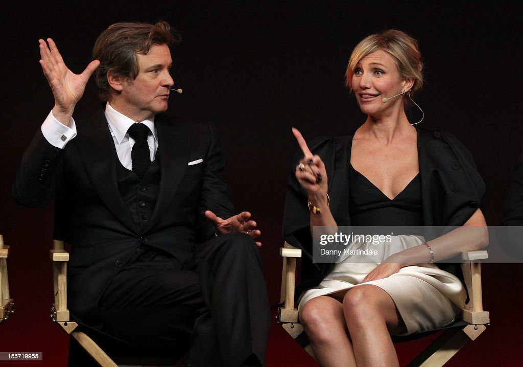 <a gi-track='captionPersonalityLinkClicked' href=/galleries/search?phrase=Colin+Firth&family=editorial&specificpeople=201620 ng-click='$event.stopPropagation()'>Colin Firth</a> and Cameron Diaz joke at the Meet The Filmmakers event for Gambit at Apple Store, Regent Street on November 7, 2012 in London, England.
