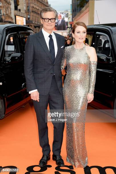 Colin Firth and Julianne Moore attend the 'Kingsman The Golden Circle' World Premiere held at Odeon Leicester Square on September 18 2017 in London...