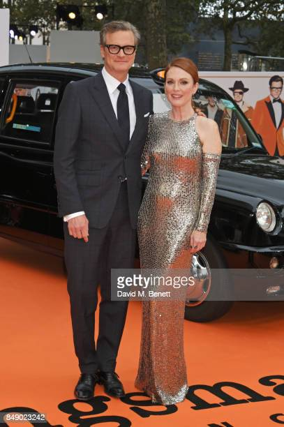 Colin Firth and Julianne Moore attend the World Premiere of 'Kingsman The Golden Circle' at Odeon Leicester Square on September 18 2017 in London...