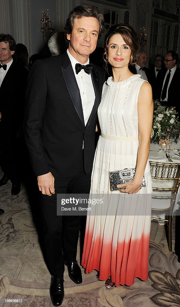 Colin Firth (L) and Livia Firth attend a drinks reception at the 58th London Evening Standard Theatre Awards in association with Burberry at The Savoy Hotel on November 25, 2012 in London, England.