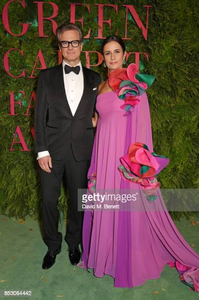 Colin Firth and Livia Firth attend the Green Carpet Fashion Awards Italia wearing Roberto Capucci for the Green Carpet Challenge at Teatro Alla Scala...