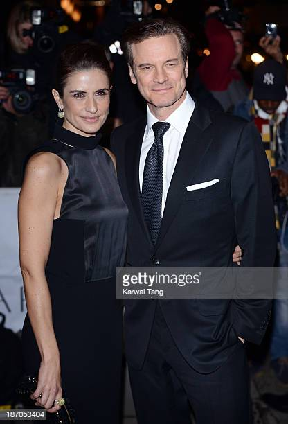 Colin Firth and Livia Firth attend the Harpers Bazaar Women of the Year Awards at Claridge's Hotel on November 5 2013 in London England