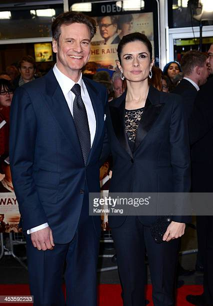 Colin Firth and Livia Firth attend the UK Premiere of 'The Railway Man' at the Odeon West End on December 4 2013 in London England