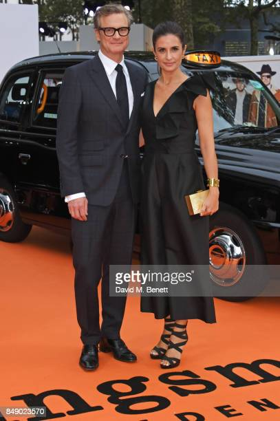 Colin Firth and Livia Firth attend the World Premiere of 'Kingsman The Golden Circle' at Odeon Leicester Square on September 18 2017 in London England