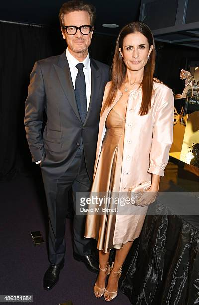 Colin Firth and Livia Firth Creative Director of EcoAge and founder of the Green Carpet Challenge attend the launch of the Sergio Rossi Green Carpet...