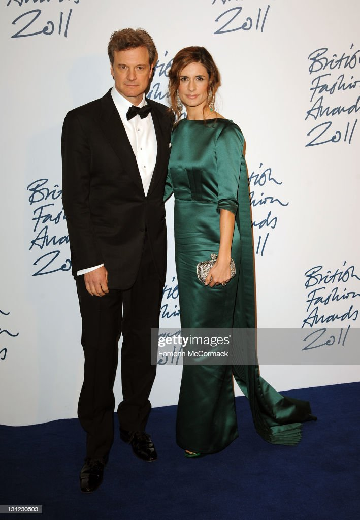 Colin Firth and Livia Giuggioli arrive at the British Fashion Awards at The Savoy Hotel on November 28, 2011 in London, England.