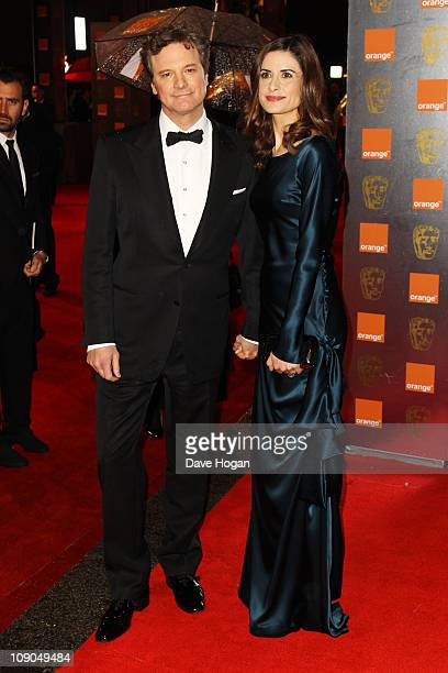 Colin Firth and Livia Giuggioli arrive at the Orange British Academy Film Awards 2011 held at The Royal Opera House on February 13 2011 in London...