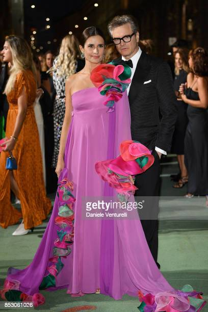 Colin Firth and Livia Giuggioli attend the Green Carpet Fashion Awards Italia 2017 during Milan Fashion Week Spring/Summer 2018 on September 24 2017...