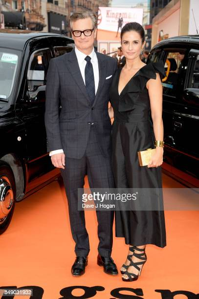 Colin Firth and Livia Giuggioli attend the 'Kingsman The Golden Circle' World Premiere held at Odeon Leicester Square on September 18 2017 in London...