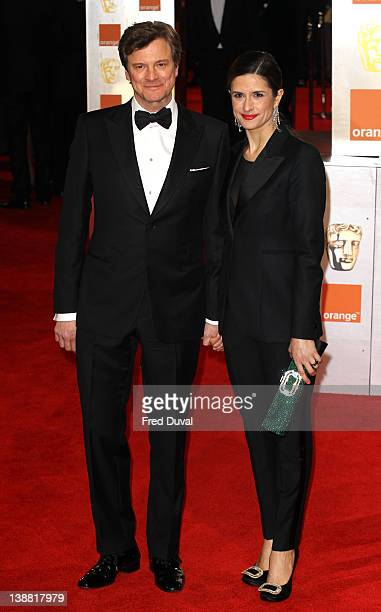 Colin Firth and Livia Giuggioli attend the Orange British Academy Film Awards at The Royal Opera House on February 12 2012 in London England