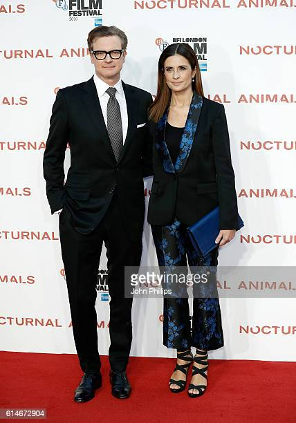 Colin Firth and Livia Giuggioli attends the 'Nocturnal Animals' Headline Gala screening during the 60th BFI London Film Festival at Odeon Leicester...