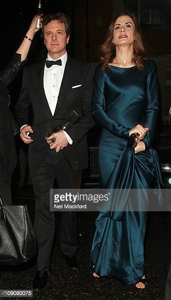 Colin Firth and Livia Giuggioli sighted arriving at The Grosvenor Hotel BAFTA Awards Dinner on February 13 2011 in London England