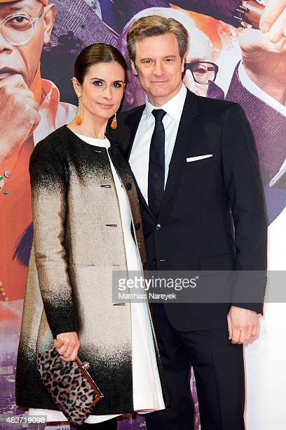 Colin Firth and Livia Giuggoli attend the German premiere of 'Kingsman The Secret Service' at CineStar on February 3 2015 in Berlin Germany