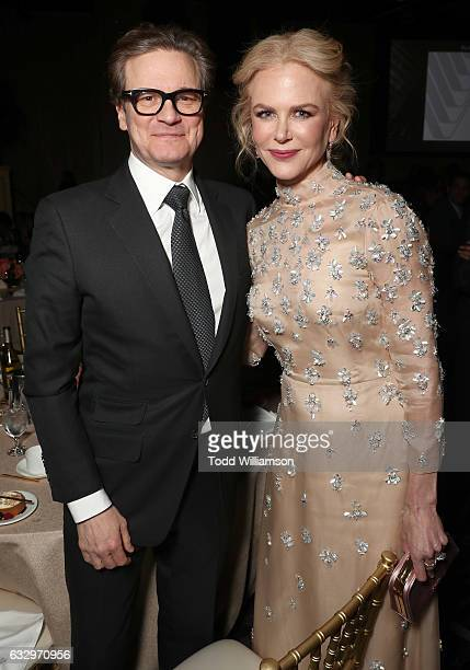 Colin Firth and Nicole Kidman attend the 28th Annual Producers Guild Awards at The Beverly Hilton Hotel on January 28 2017 in Beverly Hills California