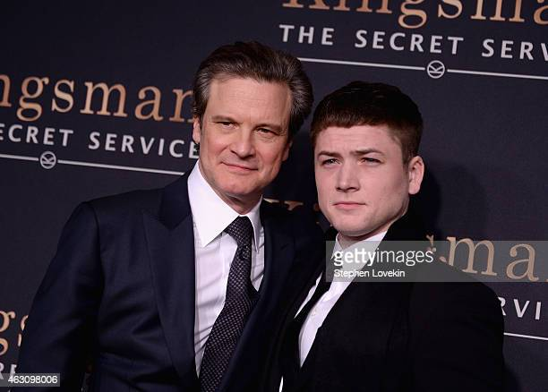 Colin Firth and Taron Egerton attend 'Kingsman The Secret Service' New York Premiere at SVA Theater on February 9 2015 in New York City