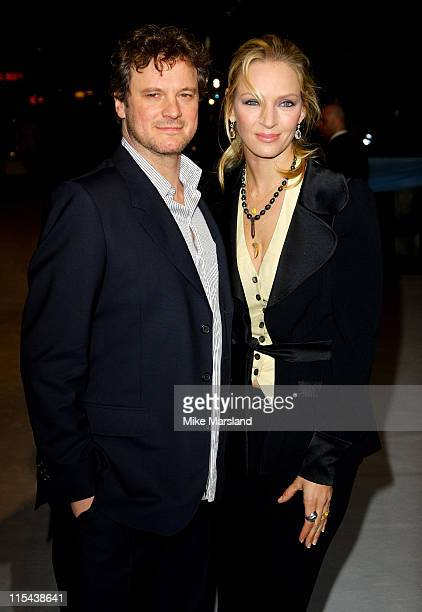 Colin Firth and Uma Thurman arrive at the The Accidental Husband UK Premiere at the Vue West End on February 13 2008 in London