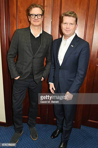 Colin Firth and US Ambassador Matthew Barzun attend a screening of 'Loving' hosted by the Academy of Motion Picture Arts and Sciences and US...