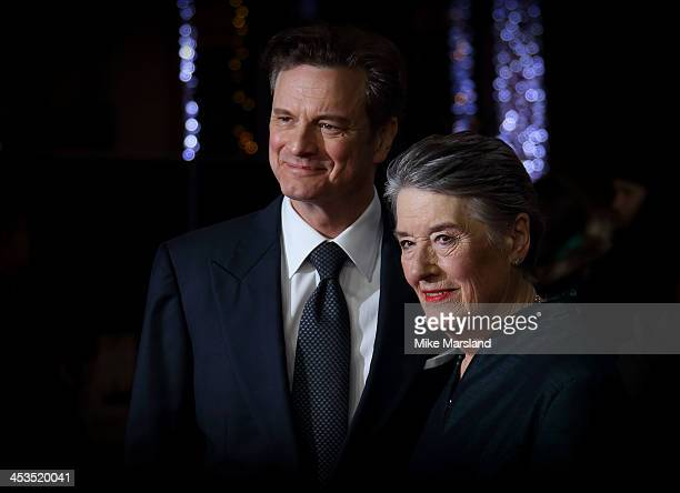 Colin Firth and wife of deceased writer of The Railway Man book Eric Lomax Patti Lomax attend the UK Premiere of 'The Railway Man' at Odeon West End...