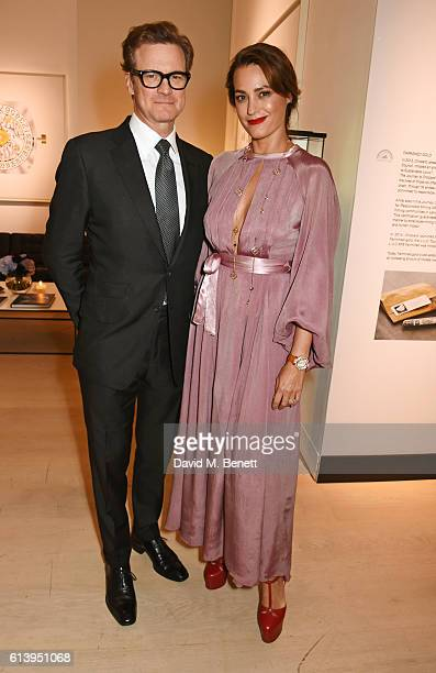 Colin Firth and Yasmin Le Bon attend the cocktail opening of the Chopard exhibition 'LUC L'art d'une Manufacture' at Phillips Gallery on October 11...