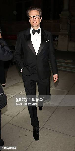 Colin Firth attending the Alexander McQueen Savage Beauty Fashion Gala at the VA on March 12 2015 in London England