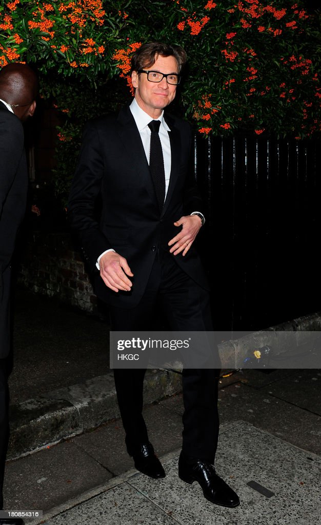 Colin Firth attends an evening to celebrate The Global Fund hosted by the Earl and Countess of Mornington, Anna Wintour, Livia Firth and Natalie Massenet at Apsley House on September 16, 2013 in London, England.