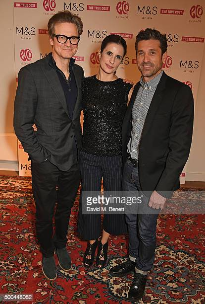 Colin Firth Livia Firth and Patrick Dempsey at the Eco Age screening of The True Cost on December 8 2015 in London England