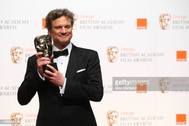 Colin Firth poses in front of the winners boards at the Orange British Academy Film Awards 2011 held at The Royal Opera House on February 13 2011 in...