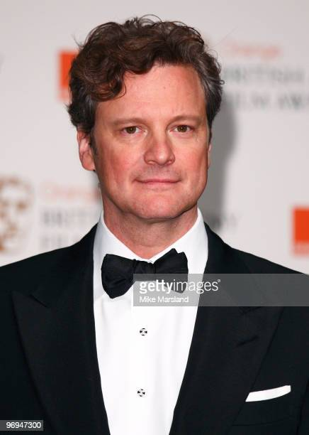 Colin Firth poses in the press room at The Orange British Academy Film Awards 2010 at The Royal Opera House on February 21 2010 in London England