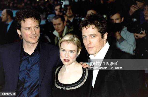 Colin Firth Renee Zellweger and Hugh Grant stars of 'Bridget Jones Diary' arriving for the UK premiere at the Empire in London's Leicester Square