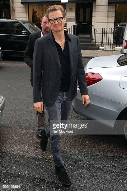 Colin Firth seen at Claridge's hotel promoting Bridget Jones' Baby on September 5 2016 in London England