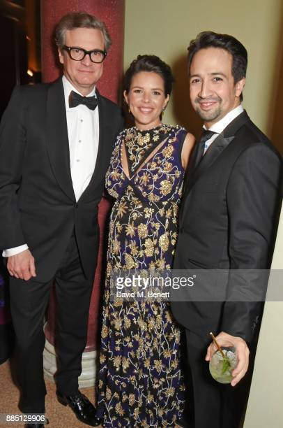 Colin Firth Vanessa Nadal and LinManuel Miranda attend a drinks reception ahead of the London Evening Standard Theatre Awards 2017 at the Theatre...