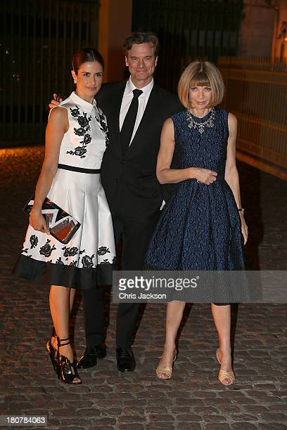 Colin Firth with Livia Firth and Anna Wintour attend an evening celebrating with The Global Fund featuring the first green carpet challenge at Apsley...