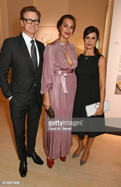 Colin Firth Yasmin Le Bon and Livia Firth attend the cocktail opening of the Chopard exhibition 'LUC L'art d'une Manufacture' at Phillips Gallery on...