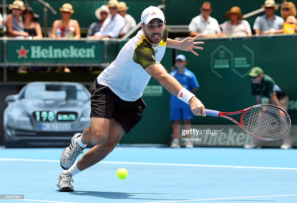 Colin Fleming of Great Britain plays a backhand during his doubles final with Bruno Soares of Brazil against Johan Brunstrom of Sweden and Frederik Nielsen of Denmark during day six of the Heineken Cup at ASB Tennis Centre on January 12, 2013 in Auckland, New Zealand.