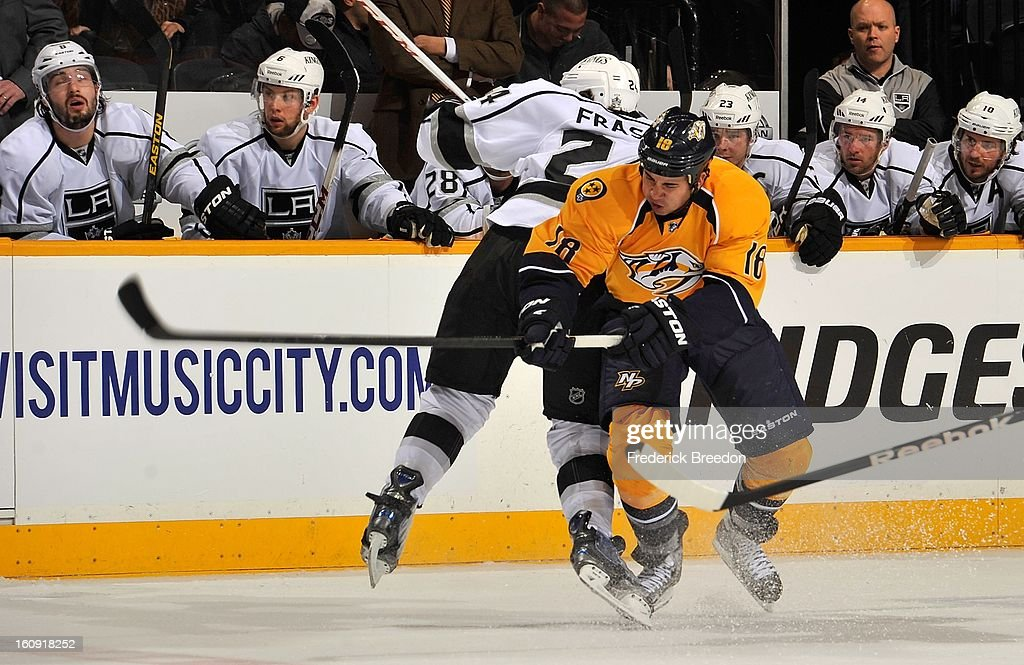 <a gi-track='captionPersonalityLinkClicked' href=/galleries/search?phrase=Colin+Fraser&family=editorial&specificpeople=2225768 ng-click='$event.stopPropagation()'>Colin Fraser</a> #24 of the Los Angeles Kings collides with Brandon Yip #18 of the Nashville Predators at the Bridgestone Arena on February 7, 2013 in Nashville, Tennessee.
