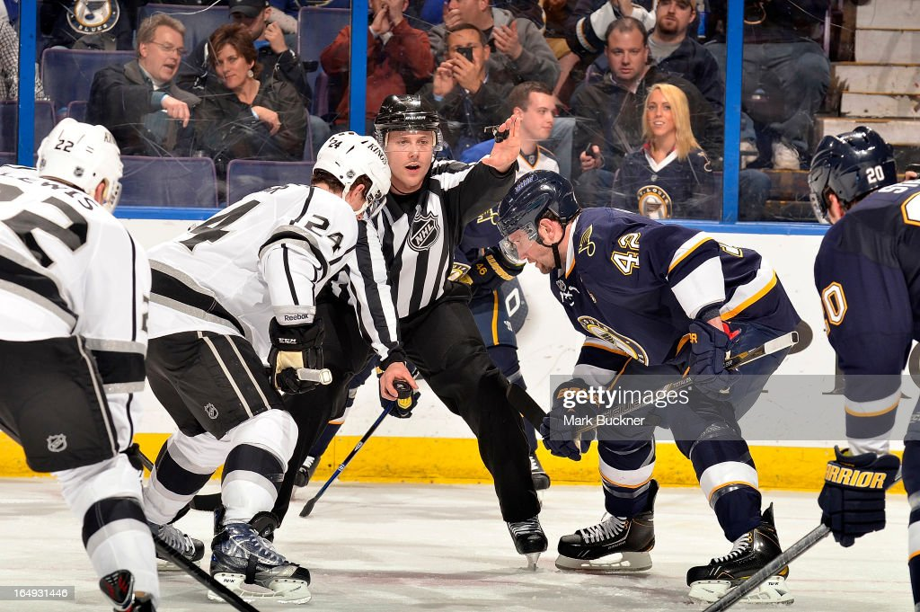 Colin Fraser #24 of the Los Angeles Kings faces off against David Backes #42 of the St. Louis Blues in an NHL game on March 28, 2013 at Scottrade Center in St. Louis, Missouri.