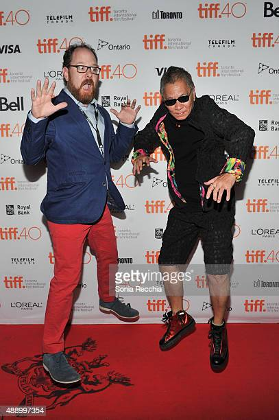 Colin Geddes and Takashi Miike attend 'Yakuza Apocalypse' screening at Ryerson Theatre on September 18 2015 in Toronto Canada