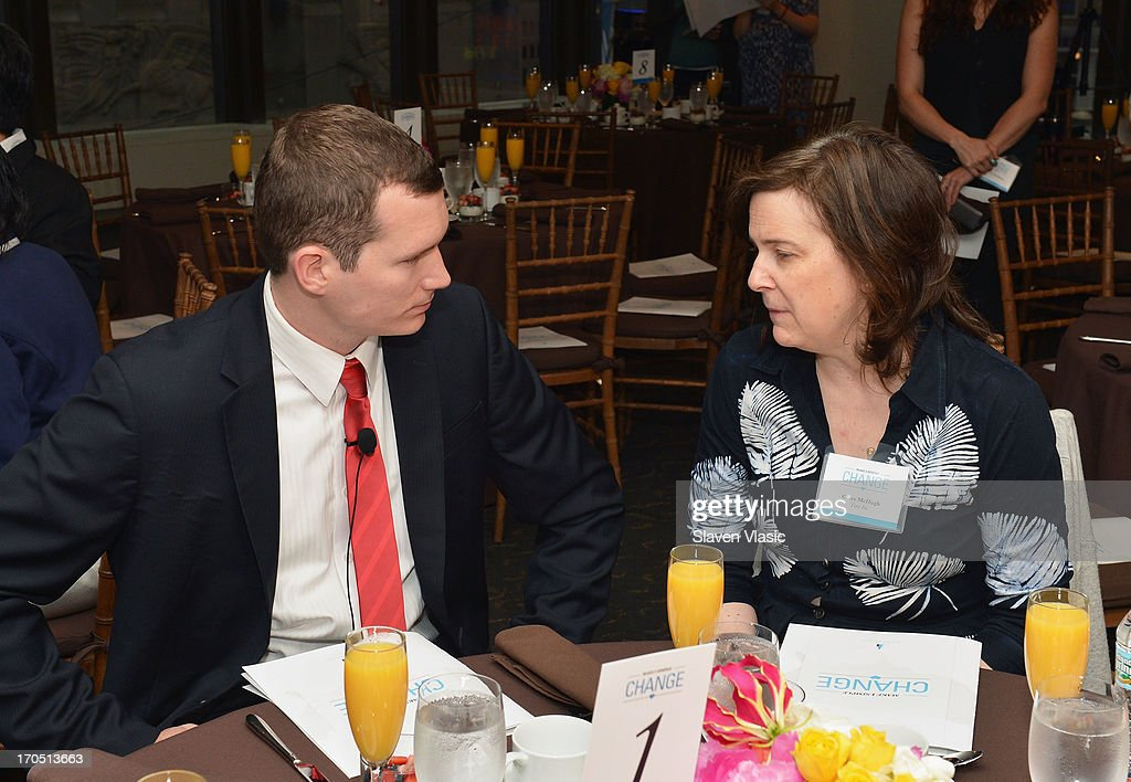 Colin Goddard, Virginia Tech shooting survivor and Clare McHugh attend 'Make One Simple Change' panel and breakfast at Time-Life Building on June 13, 2013 in New York City.
