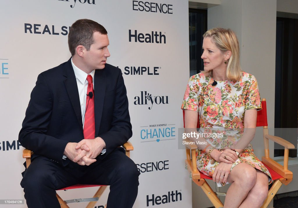 Colin Goddard, Virginia Tech shooting survivor and Kristin Van Ogtrop, editor of 'Real Simple' magazine attend 'Make One Simple Change' panel and breakfast at Time-Life Building on June 13, 2013 in New York City.