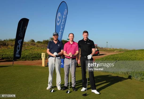 Colin Greenhill Golfplan Commercial Director James Holmes SkyCaddie UK and European Sales Manager and Ross Parker PGA Head of Sponsorship pose for a...