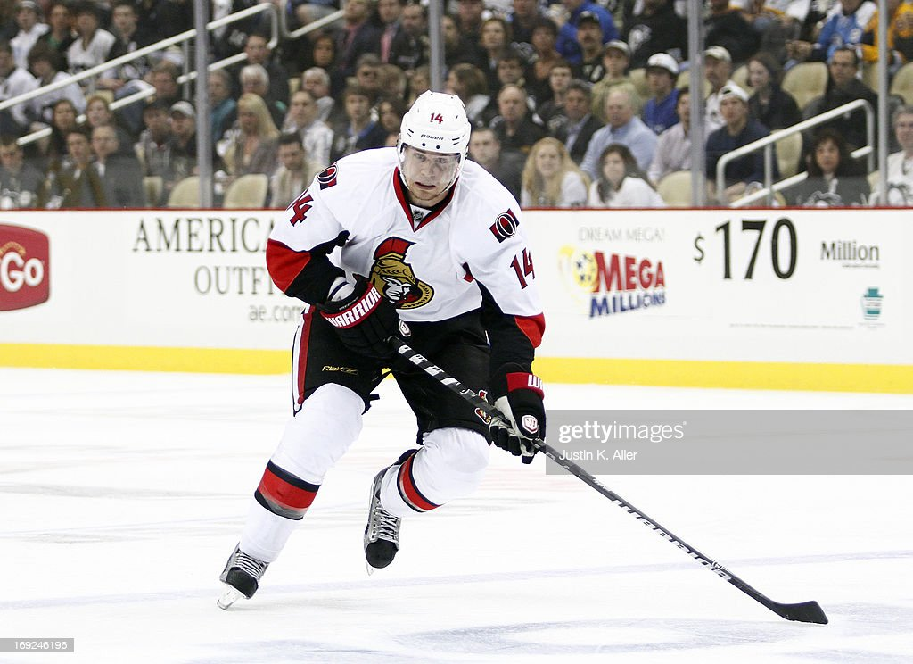 <a gi-track='captionPersonalityLinkClicked' href=/galleries/search?phrase=Colin+Greening&family=editorial&specificpeople=7183741 ng-click='$event.stopPropagation()'>Colin Greening</a> #14 of the Ottawa Senators skates against the Pittsburgh Penguins in Game One of the Eastern Conference Semifinals during the 2013 NHL Stanley Cup Playoffs at Consol Energy Center on May 14, 2013 in Pittsburgh, Pennsylvania.