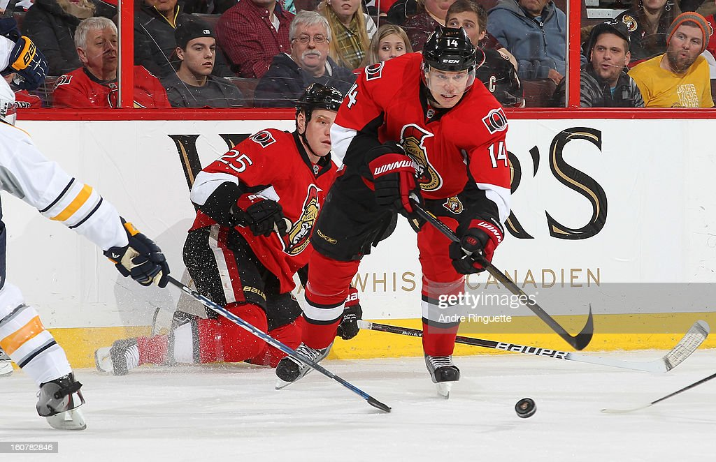 Colin Greening #14 of the Ottawa Senators stickhandles the puck against the Buffalo Sabres on February 5, 2013 at Scotiabank Place in Ottawa, Ontario, Canada.