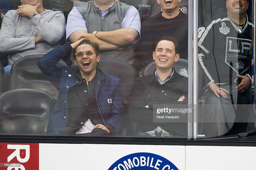 <a gi-track='captionPersonalityLinkClicked' href=/galleries/search?phrase=Colin+Hanks+-+Actor&family=editorial&specificpeople=584005 ng-click='$event.stopPropagation()'>Colin Hanks</a> (R) attends a hockey game between the Nashville Predators and Los Angeles Kings at Staples Center on March 4, 2013 in Los Angeles, California.