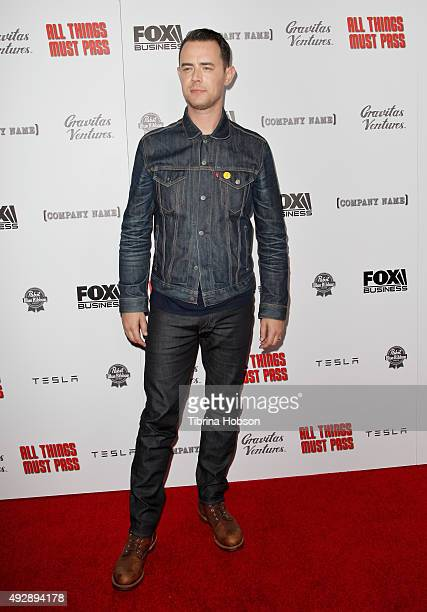 Colin Hanks attends the premiere of 'All Things Must Pass' at Harmony Gold Theatre on October 15 2015 in Los Angeles California
