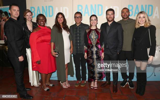 Colin Hanks from left Brooklyn Decker Angelique Cabral Fred Armisen Zoe ListerJones Adam Pally Jessie Williams and Majandra Delfino attend the...